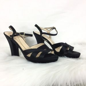 Kate Spade black satin strappy open toe heels